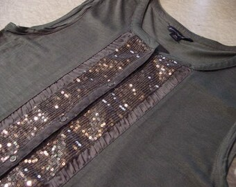 Forest Green Tank Top Embellished sequins Recycled Fashion SMALL | lagenlook Metal Rocker bling diva Jet Set stage band garb Lolita Edgy