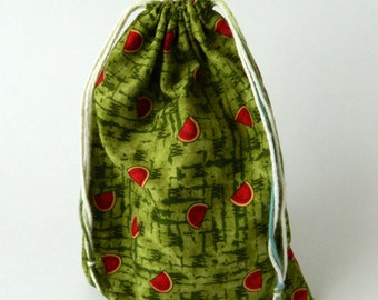 Watermelons Drawstring Bag, children crayons storage bag, kids storage bag, fabric storage bag, reusable fabric bag, Eco-friendly fabric bag