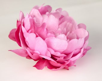 Extra Large Dry Silk Peony in Two Tone HOT Pink - 7 inches -- Silk Artificial Flower - ITEM 0136