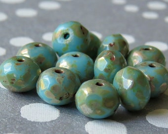 6x4mm Sky Blue Picasso Czech Glass Beads Faceted Rondelle : 12 pc Blue Rondelle
