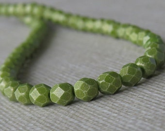 4mm Olive Sueded Gold Czech Glass Bead Faceted Round: 50 pc Gold Suede Olive 4mm Bead