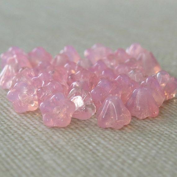 Milky Pink Czech Glass Bead Baby Bell Flower : 30 pc Pink Flower Bead