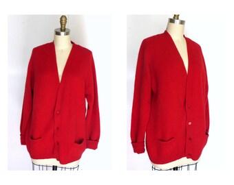 1950s Red Cashmere Cardigan Sweater Sz  XL