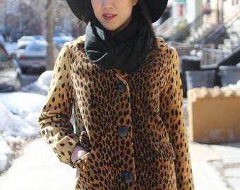 vintage 70s faux fur single breasted leopard tiger 3/4 length animal print winter fur coat jacket