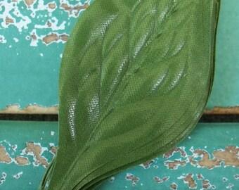 Vintage Millinery / Cloth Leaves / Twelve Stems