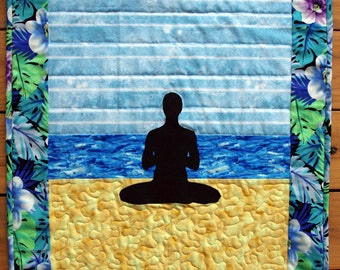 Yoga Pose Quilted Wall Hanging, Seated Cross Legged Pose, Yoga Quilt, Namaste, Quiltsy Handmade