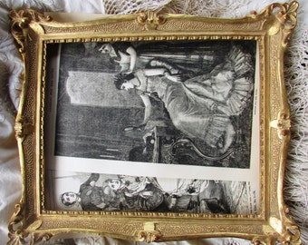 Vintage Frame with two Antique Book Prints