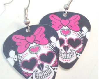 Girly Skull with Pink Bow guitar pick earrings
