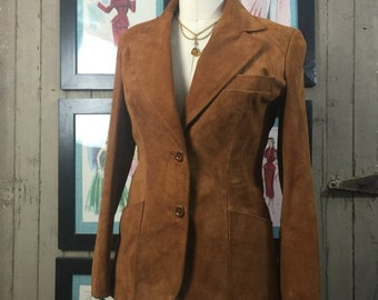 1970s suede blazer 70s leather jacket size small Vintage fitted jacket suede jacket