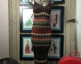 1990s dress maxi dress chevron dress knit dress crochet dress size small Vintage dress 90s dress body con dress