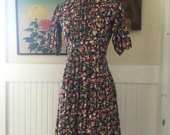 1970s dress floral dress high neck dress size small vintage dress cotton dress pin tucked dress