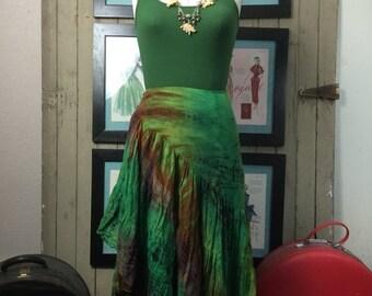 Fall sale vintage skirt wrap skirt tie dyed skirt ruffled skirt size medium Hippie skirt festival skirt 1990s skirt