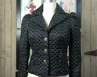 Betsey Johnson jacket black jacket satin jacket fitted vintage jacket size small quilted jacket puff shoulders betsey jacket black and gold