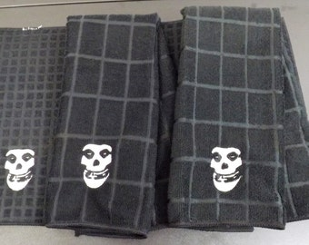 Embroidered Misfits Inspired Skull Kitchen Set - Two Towels and a Drying Mat