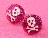Glitter Skull Ear Posts - Studs - Skull Stud Earrings - Hot Pink & White