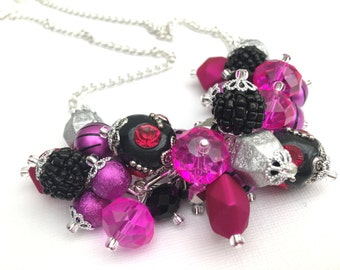 Hot Pink and Black Necklace, Cluster Necklace, Hot Pink Jewelry, Statement Necklace, Gift for Her, Beaded Necklace, Pink Chunky Necklace
