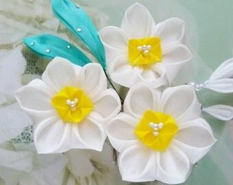 Daffodil Kanzashi Flower Hair Comb