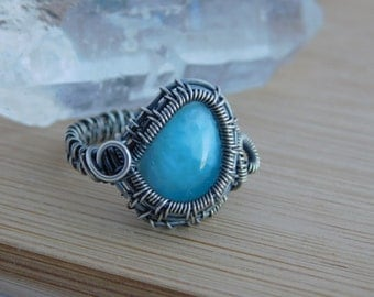 Oxidized Sterling Silver Wire Wrapped Blue Larimar Cabochon Wire Wrap Ring Size 8 1/2 Wire Wrapped Jewelry Handmade
