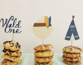 BOHO Cupcake toppers Set of 12//Tribal Pow Wow Birthday or Baby Shower//Boho chic Baby, Teepee, Wild One Toppers/BRAVE ONE Party Food Picks