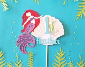 Mermaid Cake Topper - Birthday Cake Decoration - Smash Cake Topper - Personalized with Name and Age Number Under the Sea Beach Pool Party