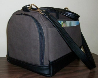 Under Seat Bag - Brown Canvas/Black Leather
