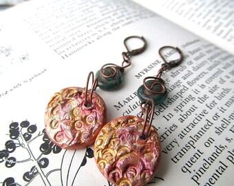 Long Dangle Earrings, Clay pendant, raku, Ethnic earrings, Beaded Earrings, Harvest Moon, Tribal jewelry, Bohemian Jewelry, Boho Earrings