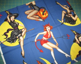 Alexander Henry  - Bewitched - Pin ups - Halloween - 2004 - cotton fabric
