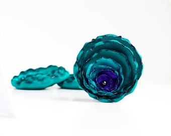 Handmade teal, turquoise and royal blue fabric flowers - wedding flowers, sew on embellishments, satin flowers, appliques, peacock flowers