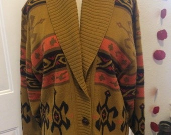 Womens vintage 1980's cardigan sweater. Size M