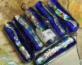 6 Vintage Foil Glass Beads Blue Tubes Made in Japan