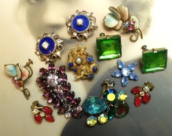 Vintage Earrings Destash Supply Clip On Singles Two Pair