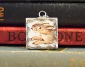 Tasha Tudor Bunny Rabbit Pendant - Soldered Glass Pendant w/ Tasha Tudor Book Illustration - Bunny & Clover Charm - Double Sided Pendant