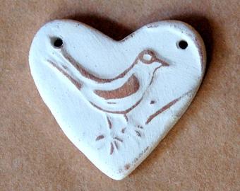 Sweet Ceramic Bead - Bird in a Handmade Heart Pendant Bead - Neutral Bird Bead