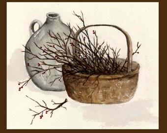 Primitive Basket Note Cards Rustic Berries Country Branches