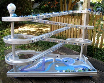 Marble Roller Wooden Toy Marbles Chaser Handmade Marble Run Silver Platinum Geometric Futuristic