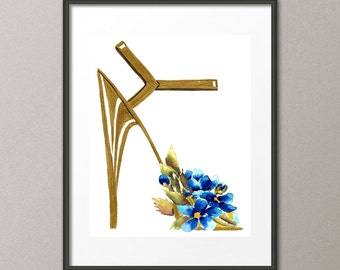 Fine Art Print Blue Flower Shoes Stiletto Pumps Footwear Fashion Watercolor Painting Abstract Modern Contemporary Elena