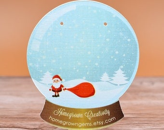 Snow Globe with Santa Clause Earring Cards - Jewelry Display Tags - Packaging - Necklace Cards - Tags | DS0126