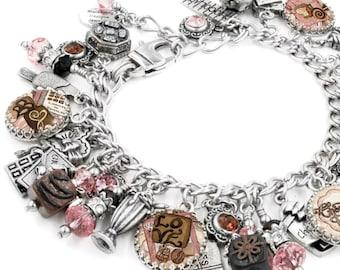 Chocolate Bracelet, Silver Charm Bracelet, Chocolate Jewelry, Chocolate Charms, Valentine Jewelry, Valentine Bracelet