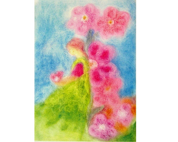 Flower fairy, painting for children, print of needle felted wool painting picture-large size