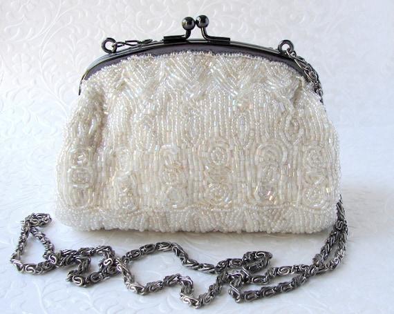 Small Ivory Bloomingdales Vintage Beaded Purse Long Shoulder Chain Aurora Borealis Glass Bead Handbag Formal Evening Bag Wedding Bridal