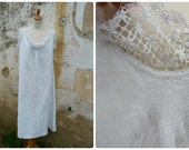 Vintage French Edwardian 1900 white thin linen dress underdress with  lace around the neckline & sleeves size S/M/L