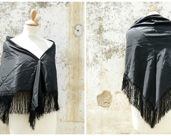 Vintage Antique Victorian French capelet scarf shawl black sateen  and fringes