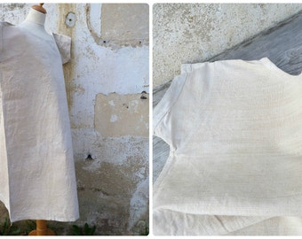 Vintage Antique 1890 /1900 French  hemp shirt / nightgown  / size  L/XL