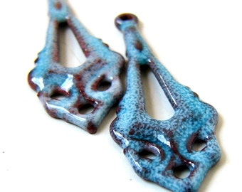 Rustic Blue Enameled Long Drop Beads/Charms