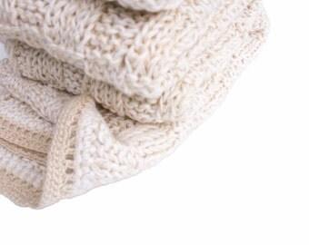 Bamboo, wool and tussah silk handknit scarf  soft white  eggshell  cream  ivory / scarf /HERVÉ // very soft