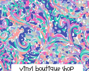 "La Playa Lilly Inspired HTV, pattern vinyl, sheet size 12""x12"" , Lily P adhesive printed patterned craft vinyl LP-118"