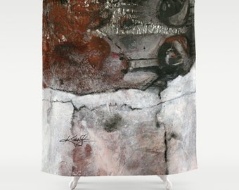 "Black, Gray, Abstract Shower Curtain, Abstract Painting, Art, ""Archaic Dream"" from Original art painting by Kathy Morton Stanion  EBSQ"
