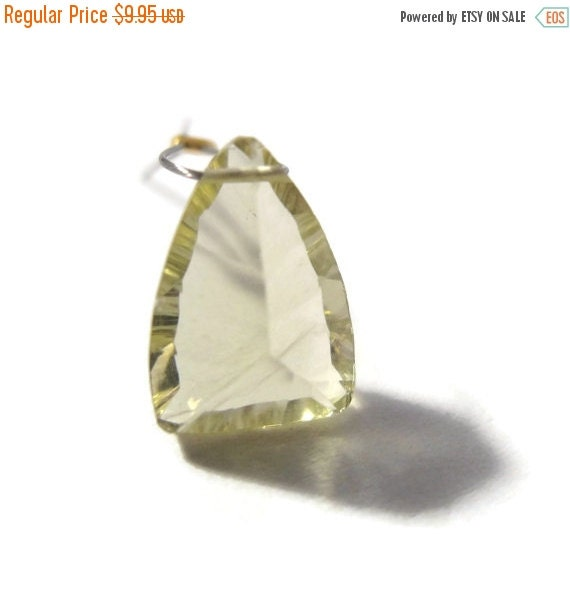 May SALE One Lemon Quartz Bead, Unique Gemstone Briolette Focal Stone, 13x9mm, Sunny Yellow Bead for Making Jewelry (Luxe-Lq6)