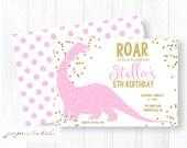 Pink Glitter Dinosaur Invitation - Dino Birthday Party - Girly Dinosaur Birthday - Pink and Gold - Gold Confetti Digital File or Printed