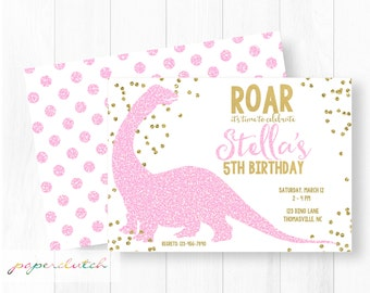 Pink Glitter Dinosaur Invitation - Dino Birthday Party - Girly Dinosaur Birthday - Pink and Gold - Gold Confetti Digital File or Printed